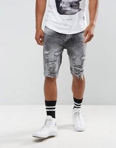 Рваные джинсовые шорты Religion - Серый