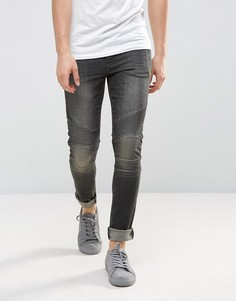Черные выбеленные байкерские джинсы ASOS - Черный