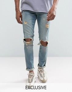Рваные узкие джинсы Mennace - Синий