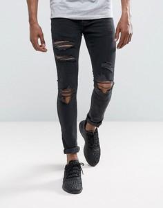 Черные выбеленные джинсы скинни Mennace - Черный