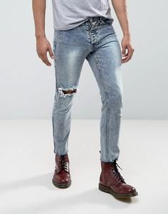 Укороченный джинсы скинни с эффектом кислотной стирки Mennace - Синий