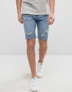 Синие состаренные джинсовые шорты супероблегающего кроя Good For Nothing - Синий