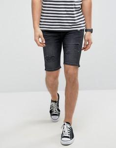 Черные состаренные джинсовые шорты супероблегающего кроя Good For Nothing - Черный