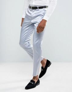 Голубые брюки скинни из сатина ASOS - Синий