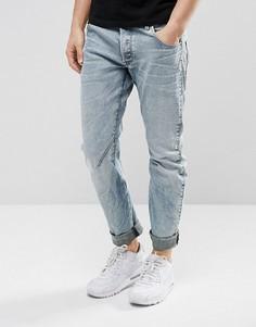 Светлые джинсы слим с рваной отделкой и заплатками G-Star Arc 3D - Синий