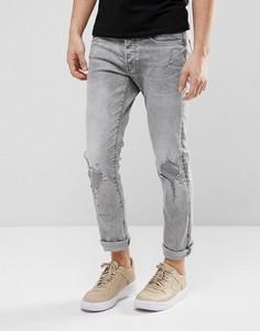Светлые джинсы слим G-Star 3301 Restored 149 - Серый