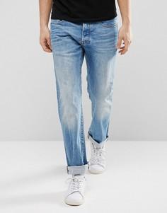Прямые эластичные джинсы с эффектом поношенности G-Star 3301 - Синий