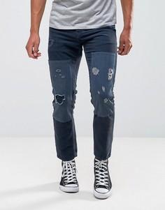 Синие вельветовые джинсы слим с рваной отделкой и нашивками ASOS - Синий
