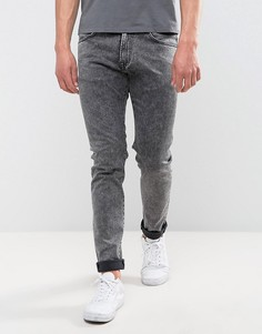 Черные суженные книзу джинсы слим с эффектом кислотной стирки Edwin ED-85 - Черный