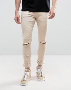 Супероблегающие джинсы с рваными коленями Criminal Damage - Светло-серый
