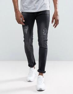 Черные выбеленные облегающие джинсы с рваной отделкой Just Junkies Sicko - Черный