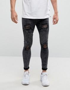 Супероблегающие байкерские джинсы SikSilk - Черный