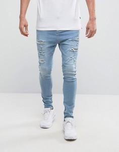 Супероблегающие светлые джинсы с молниями SikSilk - Синий
