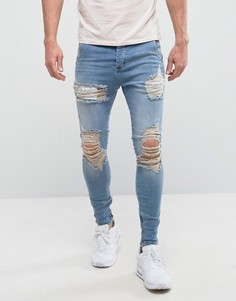 Супероблегающие джинсы с заниженной талией и потертостями SikSilk - Синий