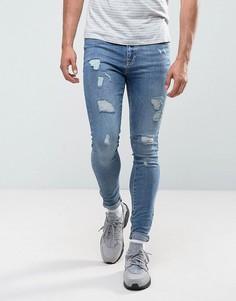 Обтягивающие джинсы с рваной отделкой Brooklyn Supply Co - Синий