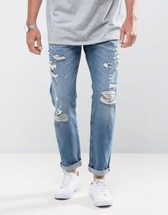 Суженные книзу джинсы с эффектом поношенности Jack & Jones Intelligence - Синий