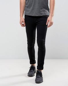 Черные стретчевые джинсы скинни в байкерском стиле Religion - Черный