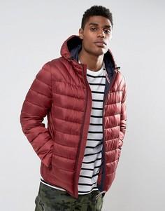 Бордовая стеганая куртка с капюшоном Napapijri Aerons - Красный