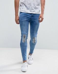 Синие выбеленные супероблегающие джинсы с рваной отделкой на коленях Illusive London - Синий