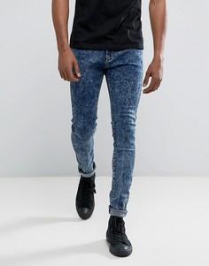 Синие джинсы скинни с эффектом кислотной стирки Liquor & Poker - Синий
