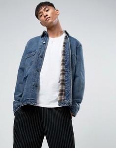 Синяя джинсовая куртка с вельветовым воротником ASOS - Синий