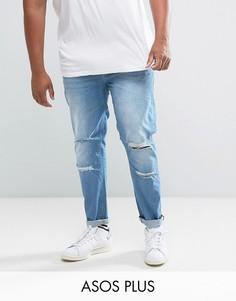 Синие выбеленные джинсы скинни с прорехами ASOS PLUS - Синий