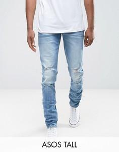 Синие выбеленные рваные джинсы скинни ASOS TALL - Синий