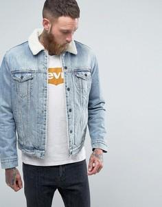 Выбеленная куртка с искусственным мехом Levis Type 3 - Синий Levis®