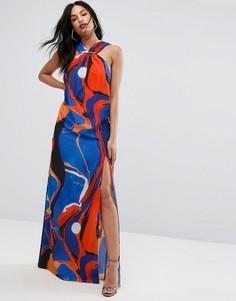 Платье-халтер макси с принтом и металлической деталью AQ AQ - Мульти