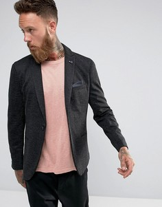 Фактурный приталенный блейзер Selected Homme - Серый