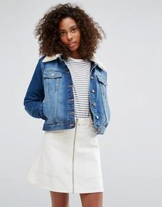 Джинсовая куртка с воротником из искусственной овечьей шерсти Brave Soul - Синий