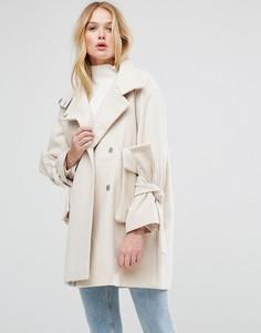 Оверсайз-пальто с звязками на рукавах ASOS - Розовый