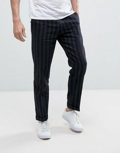 Укороченные брюки узкого кроя в полоску Sisley - Темно-синий