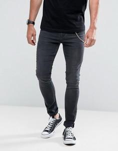 Черные выбеленные супероблегающие джинсы с цепочкой Hoxton Denim - Черный