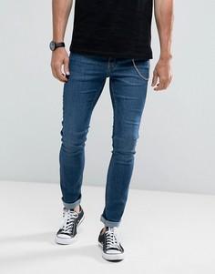 Выбеленные супероблегающие джинсы с цепочкой Hoxton Denim - Синий