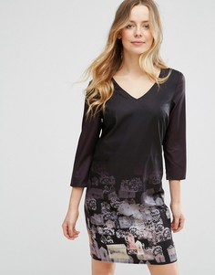 Цельнокройное платье с рукавами длиной 3/4 и принтом Lavand - Черный