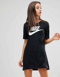 Платье-футболка с логотипом Nike - Черный