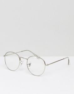 Круглые очки в серебристой металлической оправе с прозрачными стеклами ASOS - Серебряный