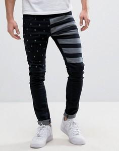 Черные джинсы скинни с принтом звезд и полос Liquor & Poker - Черный