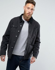Черная джинсовая куртка с подкладкой в полоску ASOS - Черный
