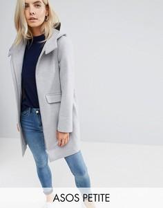 Пальто на молнии с капюшоном ASOS PETITE - Серый