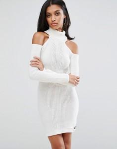 Платье с открытыми плечами и воротником поло Lipsy - Белый