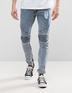Синие зауженные байкерские джинсы с эффектом кислотной стирки Loyalty and Faith Landon - Синий
