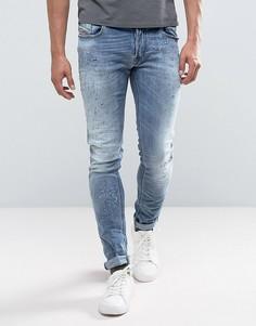 Рваные джинсы скинни ограниченной серии Diesel Sleenker - Синий