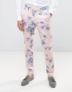 Розоватые зауженные строгие брюки с цветочным принтом ASOS Wedding - Розовый