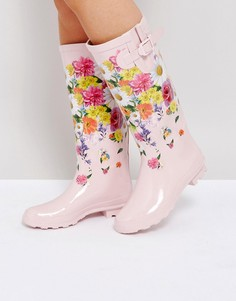 Резиновые сапоги с цветочным принтом ASOS GREENHOUSE - Розовый
