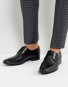 Черные кожаные броги Hudson London - Черный