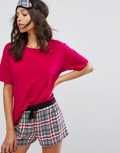 Пижама с шортами в клетку DKNY - Красный