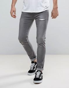 Рваные эластичные джинсы скинни Soul Star - Серый