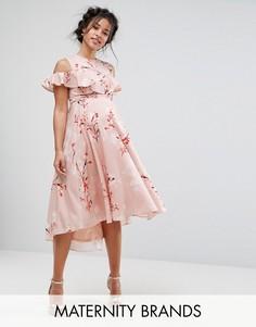 Платье миди с открытыми плечами, принтом и асимметричным краем Hope & Ivy Maternity - Мульти